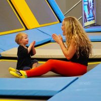 Toddler and Mum on trampoline