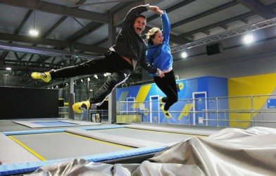 couple leaps into trampoline airbag together