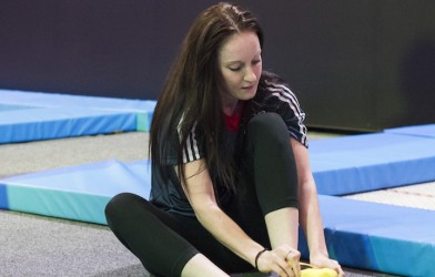 kat Driscoll british trampolinist puts on socks