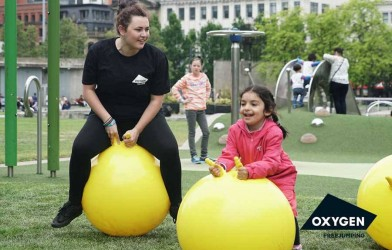 Kids spacehopper bounce in Manchester for Oxygen trampoline park opening