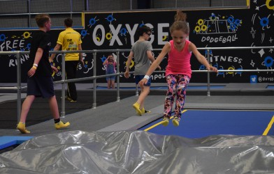 Girl jumps into airbag at trampoline park