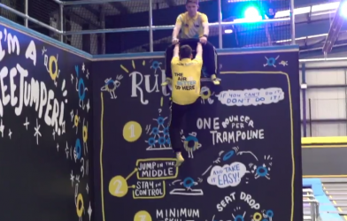 Cool trick at trampoline park