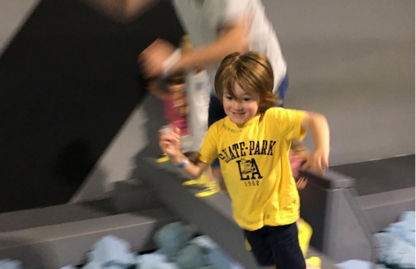 Kid on obstacle course
