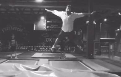 trampoline park jump flying