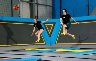 Dodgeball game at a trampoline park