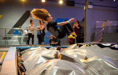Amazing jump in trampolining trampoline park