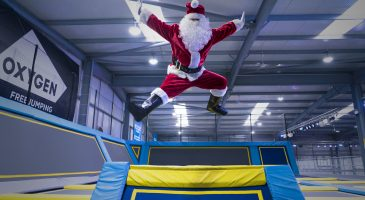 jumping father christmas holiday competition