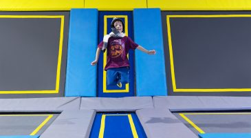 Winter cold trampoline park activity