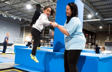 Mum and Daughter having fun in trampoline park